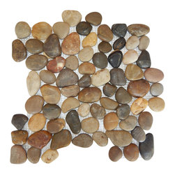 Polished River Pebble Tile, 10 pieces - All natural polished pebble tiles are the perfect choice for bathroom, kitchen, backsplash, pool, spa, and floor tiles. They add a sense of beauty, luxury, and elegance to any indoor or outdoor application. Each stone is meticulously sorted by hand according to its size, color, and shape. Then, they are attached to a web mesh by pollution-free glue. Natural polished pebbles are a very popular choice for shower splash and floor tiles. This item is sold by box with 10 in each box. Individual pieces are available on our seller's page. Please note: Pebbles are a natural product so variations in color and texture are to be expected. All tiles should be inspected before installation, as no adjustment will be made after installation.