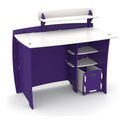 Legare - Legare Kids 43 in. Desk with Shelf and File Cart - Purple and White - MPUM-209. - Shop for Childrens Desks from Hayneedle.com! We'll vouch for it: The Legare Kids 43 in. Desk with Shelf and File Cart - Purple and White is just as much fun as it looks. With a desk top of 37.5 inches this desk is ideal for pre-teens and college-age students alike. The body is constructed of medium-density fiberboard (MDF) used for its strength and ability to resist warping and cracking over time. The edges are rounded for safety and to give the desk that modern-design vibe and the whole packaged is finished with a smooth matte coat of purple and white. Assembly requires no tools and takes less than 10 minutes. Two lower shelves and a rolling file cart give you room for storage and the PDA shelf keeps all your gadgets where you can find them. This desk also has the ability to be configured in a right- or left-handed design. If you like the look and color you needn't stop here when you could add the matching Legare 54 in. Kids Bookcase - Purple & White. About Legare FurnitureBased in Los Angeles California Legare Furniture is a design and manufacturing firm that produces contemporary unique and easy-to-assemble furniture for the home and small office. Founded in 1999 the company's designs are an evolution of Legare's original signature modular design continually improved with innovative materials and finishes to enhance the chic style and convenient functionality that marks Legare's furniture as distinct.