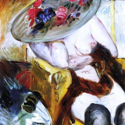 """Lovis Corinth Italian Woman in a Yellow Chair  Print - 18"""" x 24"""" Lovis Corinth Italian Woman in a Yellow Chair premium archival print reproduced to meet museum quality standards. Our museum quality archival prints are produced using high-precision print technology for a more accurate reproduction printed on high quality, heavyweight matte presentation paper with fade-resistant, archival inks. Our progressive business model allows us to offer works of art to you at the best wholesale pricing, significantly less than art gallery prices, affordable to all. This line of artwork is produced with extra white border space (if you choose to have it framed, for your framer to work with to frame properly or utilize a larger mat and/or frame).  We present a comprehensive collection of exceptional art reproductions byLovis Corinth."""
