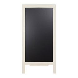 "Enchante Accessories Inc - Large Wood Wall Leaning Chalkboard / Black Board Sign 18"" x 40"" (Ivory) - This message board features a  wooden framed chalkboard."