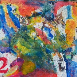 Halftime (Original) by  J  Cooper - This is an urban influenced abstract, incorporating numerical stencils with acrylics and other mixed media materials.