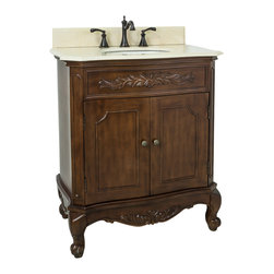 "Hardware Resources - Lyn Design VAN062-T-MC - This 30-1/2"" wide MDF vanity features carved floral onlays and French scrolled legs for a traditional feel. The Nutmeg finish adds depth to this vanity. A large cabinet provides ample storage. This vanity has a 2CM Cream marble top preassembled with an H8809WH (15"" x 12"") bowl, cut for 8"" faucet spread, and corresponding 2CM x 4"" tall backsplash. Overall Measurements: 30-1/2"" x 20-1/4"" x 35-1/2"" (measurements taken from the widest point)"