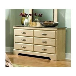Standard Furniture - 6-Drawer Dresser with Faux Marble Top - Architectural sophistication works together with contemporary style. Keystone adornments on the corners of Coronado's headboard makes focal points for the entire suite. French dovetail construction throughout enhances durability. Rich faux marble stone tops present attractive, easy-to-clean surfaces. Rounded drawer fronts and simulated marble tops illustrate modern style and sophistication. Cast metal hardware encompasses a progressive look with a dull nickel color finish. Roller side drawer guides provide ease and convenience. Top drawers are felt lined to protect delicate items. Beautiful Daring ash color finish on case pieces accented by a fine dark colored simulated marble on the tops gives the look and feel of quality and elegance. Rich faux marble stone tops present attractive, easy-to-clean surfaces. 16 in. W x 58 in. L x 32 in. H (127 lbs.)Coronado captures understated elegance through clean lines and modern detail.