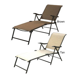Jeco - Outdoor Patio Sling Folding Lounger (Set of 4) - Enjoy the outdoors with this comfy lounger. This foldable lounger can be placed on the patio or porch. It also works well in the yard. This lounger is made from materials that are durable. It is available in tan or brown. Use this lounger on-the-go.