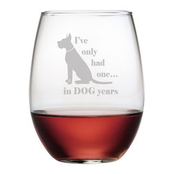 Susquehanna Glass - Dog Years Stemless Wine Glass, 21oz, S/4 - Each 21 ounce stemless tumbler is sand etched with a playful dog-themed design. Dishwasher safe. Sold as a set of four. Made and decorated in the USA.