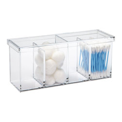 Acrylic 4-Section Box - For those whose want to keep their interior medicine cabinet shelves neat and organized with everything clearly visible, these simple organizers are the perfect choice. They're also specifically designed to fit into the narrowest cabinet depths.