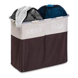 Dual Compartment Light/Dark Hamper - Dimensions:  25 in l x 12.5 in w x 21.5 in h (63.5 cm l x 31.8 cm w x 54.6 cm h)