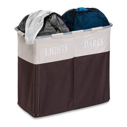 "Dual Compartment Light/Dark Hamper - Honey-Can-Do HMP-01403 Dual Compartment Laundry Hamper, Brown/Taupe. A decorative laundry solution for bedrooms and baths, this hamper looks as good as it is functional. Clearly marked ""Lights"" and ""Darks"" compartments make sorting laundry a breeze. Full-sized compartments can hold in extra-large loads of laundry with the mesh drawstring top. Sturdy metal frame is removable for storing the hamper flat when not in use. Laminated interior is easy to clean and keeps mildew from forming on the exterior fabric. Keep clothes off of the floor and your space neat and clean with this great-looking hamper."