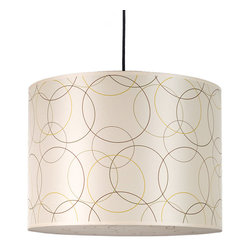 Lights Up! - Meridian Large Pendant Lamp, Circles on Silk Shade - Get in the loop with this of-the-moment hanging lamp. Dozens of slender interlocking circles dance across the light silk shade, adding a little geometric pizazz to your space. Hang it above your desk or dining room as an uplifting design touch that will light up your room and lighten the mood.