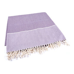 Indigo&Lavender - Handmade 100% Cotton Tunisian Fouta Hammam Towel, Aubergine - Bright and light, a fouta is a textile derivative of the traditional hammam towels of Turkey and North Africa. It is large enough for one person to use it as a beach towel. The foutas are made of lightweight cotton and roll up tightly, perfect for tucking in a bag and taking with you. Plus, they're as absorbent as traditional terry-cloth towels, and they dry quickly, too.