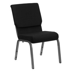 Flash Furniture - Hercules Series 18.5'' Wide Black Chair With 4.25'' Thick Seat - Silver Vein Fra - This HERCULES Series Church Chair will add elegance and class to any Church, Hotel, Banquet Room or Conference setting. If you are looking for a chair with comfort and style that is easy to move and stores away with ease, then look no further. This built to last chair has a 16-gauge steel frame that has been tested to hold 800 lbs. This church chair features double support bracing, ganging clamps, a cushion that graduates to a 4.25'' thick waterfall edge and plastic floor glides to protect non-carpeted floors. Our church chair is manufactured by one of the most reputable stack chair manufacturers in the industry, you can be assured of the quality of this chair offered to you.
