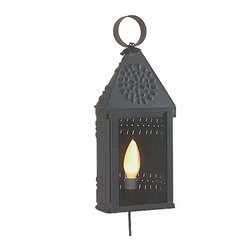 """Renovators Supply - Sconces Black Tin Wall Sconce 14 1/8"""" H x 5 3/4"""" W   99885 - This pierced tin wall lamp gives a candle light look with modern convenience. This authentic replica of Colonial lighting can be ceiling or wall mounted. It measures 14 1/8"""" high x 5 3/4"""" wide. It includes a 6 foot black cord with roller switch on it."""