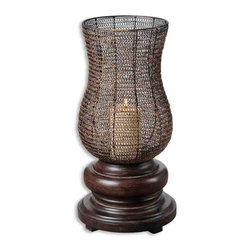 None - Rickma Distressed Chestnut Brown Candleholder - Give your decor a distinctive boost with the Rickma candleholder. This candleholder is made from metal that has a heavily distressed chestnut brown base finish.