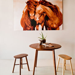 Kitchen - Biscuit Round Dining Table & Biscuit Stools designed by Outofstock and Roberto Dutesco Wild Horses of Sable Island Photograph