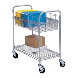Safco Wire Mail Cart - 24 in. - The Safco Wire Mail Cart - 24 in. makes it easy to get your parcels where they need to be. This cart is made with a durable steel frame and features smooth rolling, locking casters. A top shelf features a file rack while a bottom shelf holds larger packages and other items.About Safco ProductsSafco products were specifically developed to meet the changing needs of the business world, offering real design without great expense. Each product is designed to fit the needs of individuals and the way they work, by enhancing comfort and meeting the modern needs of organization in the workplace. These products encourage work-area efficiency and ultimately, work-life efficiency: from schools and universities, to hospitals and clinics, from small offices and businesses to corporations and large institutions, airports, restaurants, and malls. Safco continues to offer new colors, new styles, and new solutions according to market trends and the ever-changing needs of business life.