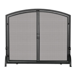 Uniflame - Uniflame S-1062 Single Panel Black Wrought Iron Screen w/ Doors- Medium - Single Panel Black Wrought Iron Screen w/ Doors- Medium belongs to Fireplace Accessories Collection by Uniflame