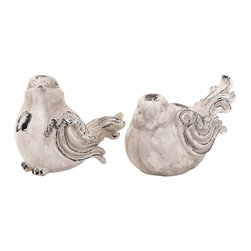 Woodland Imports - Set of 2 Garden Love Birds Antiqued White Home Patio Accent Decor 20933 - Beautiful set of 2 garden love birds in fiberglass material with antiqued white appearance home patio accent decor