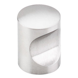 """Top Knobs - Indent Knob 13/16"""" - Brushed Stainless Steel - Width - 13/16"""", Projection - 1"""", Base Diameter - 13/16"""""""