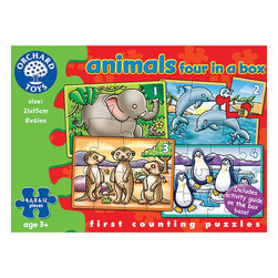 The Original Toy Company - The Original Toy Company Kids Children Play Animal Four in a Box - Four puzzles in one box depicting animal scenes. Age: 3 years plus. Pieces: 4,6,8 &12. Gender: Both. Weight: 1 lbs.
