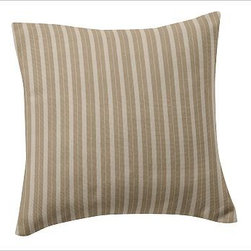 """Custom Fabric 18"""" Pillow Cover, Knife-Edge, Colby Stripe Khaki - Create beautiful custom pillows with your choice of over 75 high-quality upholstery fabrics. Square: 18"""" or 24""""  Lumbar: 8"""" x 30"""" Bolster: 14"""" x 36"""" Reverses to same. Knife edge with hidden zipper closure; insert sold separately. Imported."""