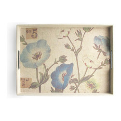 Jay Import Co. - Notions Blue Poppy Tray - Fade to blue and add some romance to every serving with this lovely tray. Vintage postcard-inspired and adorned in cerulean poppies, you will fall in love each time you use it.