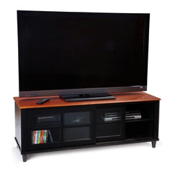 Convenience Concepts - French Country 60 in. Entertainment Center - Adjustable height shelf. Tempered glass sliding doors. Solid rubber wood legs. Top, apron and shelf are made from MDF with oak veneer. Cherry and black finish. Assembly required. 60 in. W x 20 in. D x 22 in. H (121 lbs.)Matches other items in French Country Collection.