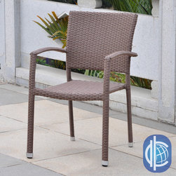 International Caravan - International Caravan Barcelona Resin Wicker/Aluminum Outdoor Dining Chairs (Set - Furnish your patio in style with this set of two outdoor dining chairs. Crafted of weather-resistant resin and aluminum and featuring an attractive wicker weave design, these chairs are built to provide you with years of durable beauty.
