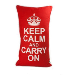 Keep Calm White On Red 14X24 Decorative Pillow (Indoor/Outdoor) - 100% polyester cover and fill.  Suitable for use indoors or out.  Made in USA.  Spot Clean only