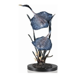 """SPI - Sting Ray Duo in Seagrass - -Size: 16"""" H x 11"""" W x 8.5"""" D"""