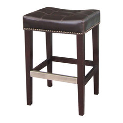 Marco Polo Imports - Zorion Counterstool with Kickplate-Java - Exotic wooden counter stool with pristine leather cushion and a classic java finish.