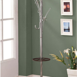 "Coaster - Coat Rack, Cappuccino/Chrome - Modern coat rack with chrome arms and a cappuccino umbrella holder. Comes with four matching hangers.; Finish/Color: Cappuccino/Chrome; Dimensions: 13""L x 13""W x 70.75""H"