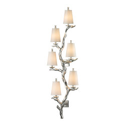 ELK - ELK 55005/6 Wall Sconce - Inspired by a wall climbing vine, the sprig series blends complimentary elements into a stunning wall art sculpture or dining room fixture. Offsetting thick branches provide a realistic appearance, while a hand applied Silver Leaf finish and cream fabric shades add flair for a more modern designer statement.