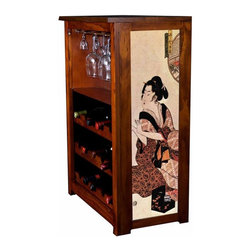 "Kelsey's Collection, Inc. - Hiroshige Wine Cabinet Geisha - Pine Wine Cabinet  stores wine and glassware with famous artwork by Ukiyoye artist Aldo Hiroshige giclee-printed on canvas side panels. The art is giclee printed on canvas with three coats of UV inhibitor to protect against the sunlight and thereby extend the longevity of the art. The canvas is then glued onto panels and inserted into the frames. Kelsey's Wine Cabinet showcases and stores wine and glassware with solid radiata pine construction. Famous artwork is giclee-printed on canvas side panels which provide a unique decorating touch of art that enhances the product and reflects your home-decor style.  The frame, top, and racks are solid New Zealand radiata pine with a hand stained and hand rubbed rubbed medium reddish brown finish, that is then protected with a  lacquer coat and top coat.. Kelseys Collection is where ""Great Art & Function Meet""  This model is also referred to as the Jessica model. Dimensions are 33 by 22 by 12 deep.  Holds 15 wine bottles and full sized wine glasses.  Some assembly required."