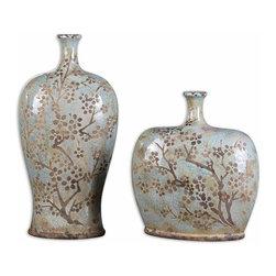 Uttermost - Citrita Decorative Ceramic Vases Set of 2 - Distressed, crackled sea foam blue ceramic with antique khaki undertones