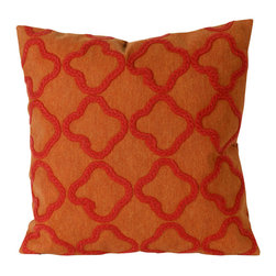 """Trans-Ocean Inc - Crochet Tile Orange 20"""" Square Indoor Outdoor Pillow - The highly detailed painterly effect is achieved by Liora Mannes patented Lamontage process which combines hand crafted art with cutting edge technology. These pillows are made with 100% polyester microfiber for an extra soft hand, and a 100% Polyester Insert. Liora Manne's pillows are suitable for Indoors or Outdoors, are antimicrobial, have a removable cover with a zipper closure for easy-care, and are handwashable.; Material: 100% Polyester; Primary Color: Orange;  Secondary color: orange; Pattern: Crochet Tile; Dimensions: 20 inches length x 20 inches width; Construction: Hand Made; Care Instructions: Hand wash with mild detergent. Air dry flat. Do not use a hard bristle brush."""
