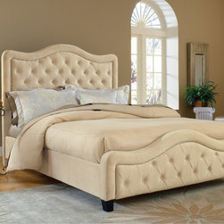 Hillsdale - Trieste Fabric Panel Bed - The Trieste bed is both fashionable and comfortable. An impressive, large headboard is complimented by nail-head trim and button and tuck styling. The fabric covered side rails and footboard continue the soft, luxurious theme. Color may appear different in person due to lighting. Features: -Boxspring Required: Yes.-Tufted: Yes.-Distressed: No.-Upholstered in a 100% Polyester velvet like fabric.-Shipping Information: This item ships UPS/Fed Ex Ground in Three (3) Boxes..-Distressed: No.Dimensions: -Assembled Dimensions Height: 23''.-Assembled Dimensions Height: 58''.-Assembled Dimensions Width: 64.5''.-Assembled Dimensions Width: 64.5''.-Assembled Dimensions Depth: 89''.-Assembled Dimensions Depth: 89''.-Assembled Weight: 89-103 lbs..-Overall Product Weight: 89-103 lbs..