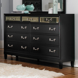 Coaster - Devine Dresser in Black Finish - The unique styling of the Devine bedroom collection offers a casual contemporary look that is sure to make a bold statement in your master bedroom. The headboard features a button tufted back with detailed nailhead trimming. The top drawer fronts on each case piece features a mirrored front panel which creates an exceptional appearance and style. A bevelled mirror accompanies the dresser to pull in the contemporary feel of this collection.