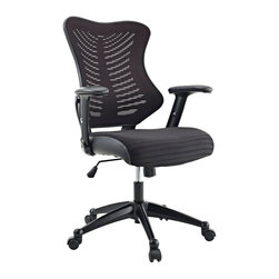 Modway - Modway EEI-209 Clutch Office Chair in Black - Sit deeply into this form-fitting chair of distinction. With a plush waterfall padded seat and ergonomic mesh back, all aspects of your seating experience have been considered. Clutch's unique �ribbed� pattern develops a lumbar support along your entire back, while the seat's curvature helps lessen tension on your thighs. Suitable for taller folks, this is an affordable and functional chair that gives you the support you need.