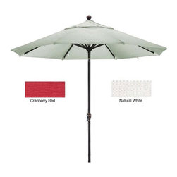 None - Premium Woven Olefin Nine-Foot Dark Bronze Aluminum TIlting Patio Umbrella - Enjoy your day outdoors with this woven olefin nine-foot patio umbrella. This umbrella features a durable pole and ribs finished in dark bronze and a thick olefin fabric. Available in white or cranberry red,this umbrella offers style and convenience.