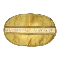 EuroLux Home - Oval Consigned Vintage French Table Runner Doily Gold - Product Details