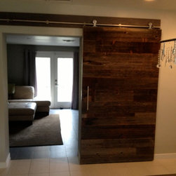 Sliding Barn Door - Contemporary Reclaimed Grey Hemlock 2 - Thomas Porter
