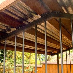 powder coated steel woodshed on steel feet - Stashu Smaka