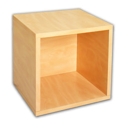 Way Basics - Super Cube, Natural - Sometimes, bigger is better — especially if you've got vinyl LPs, full-size photo albums and coffee table books to store. With easy peel-and-stick construction, you'll put together a formaldehyde- and VOC-free super cube in no time. And your stuff? Stowed!
