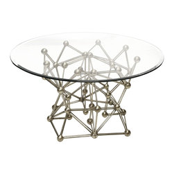 """Worlds Away - Worlds Away Silver Leaf Iron Round Table with 42""""Dia Glass Top MOLECULE S42 - Worlds Away Silver Leaf Iron Round Table with 42""""Dia Glass Top MOLECULE S42"""