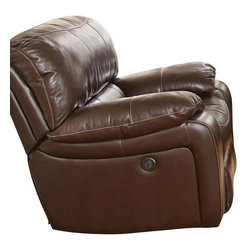 Steve Silver Furniture - Steve Silver Brenton Recliner Chair in Coffee Leather - Recliner Chair in Coffee Leather belongs to Brenton Collection by Steve Silver The Brenton motion recliner chair is the ultimate in comfort and relaxation.  The recliner chair features fully reclining power motion with durable Leggett and Platt recliner mechanisms and Mullin motors.  The double glider side by side reclining loveseat features a storage console and cup holders.  Impressive coffee bean top grain leather on seats, backs and arms with matching vinyl on outside backs and arms.   Chair (1)