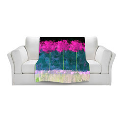 DiaNoche Designs - Throw Blanket Fleece - Fuschia Trees - Original Artwork printed to an ultra soft fleece Blanket for a unique look and feel of your living room couch or bedroom space.  DiaNoche Designs uses images from artists all over the world to create Illuminated art, Canvas Art, Sheets, Pillows, Duvets, Blankets and many other items that you can print to.  Every purchase supports an artist!