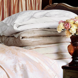 Frontgate - Millefleur Duvet Cover - From Eastern Accents. 100% cotton sateen woven in Italy. 600-thread count. Choose from several neutral colors. Machine Washable. Let our Millefleur Sateen Bedding Collection take you on a journey through the sprawling Luxembourg Gardens of Paris. Lose yourself in its flowing, jacquard-woven textiles and fresh floral pattern. Enhanced by careful single hemstitch detailing, Millefleur's blossoming fabrics brings a soft intricacy to fine linens.  .  .  .  .  . Because this bedding is specially made to order, please allow 4-6 weeks for delivery.. Fabrics woven in Italy; sewn in the U.S.A.