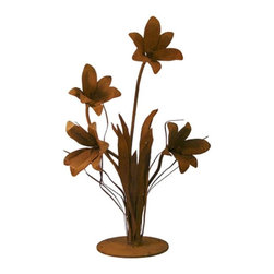 Patina Products - Lily Outdoor Metal Sculpture Multicolor - S675 - Shop for Statues and Sculptures from Hayneedle.com! This beautiful cluster of lilies is going to bring back memories of spring and summer all year long. The Lily Outdoor Metal Sculpture is a wonderful addition to any outdoor decor and is constructed from metal for longevity and durability. Available in your choice of sizes this finely crafted outdoor sculpture will soon become a favorite piece. Small dimensions: 13W x 12D x 22H inches weighs: 9 lbs. Large dimensions: 19W x 13D x 24H inches weighs: 11 lbs. About Patina ProductsWith headquarters on the central coast of California where warm days and cool nights make outdoor patio living second nature Patina Products takes pride in its art and offers the finest in outdoor living accessories with a gorgeous natural patina finish. Since 2001 Patina Products has been warming up gardens outdoor rooms and patios with its impressive line of unique fire pits and other products. They use specially designed CNC (computer numeric control) plasma cutters to cut virtually any logo or brand into the side of a custom fire pit. The company designs its fresh original line of garden art in its studio overlooking the Pacific Ocean. The business began as an evolution. After 15 years in the pharmaceutical industry the owners of Patina Products knew two things: how to run a successful business and that they wanted a more creative outlet to express their love of outdoors and home decor. With beautiful decor items from Patina Products your patio will become your favorite room of your house.