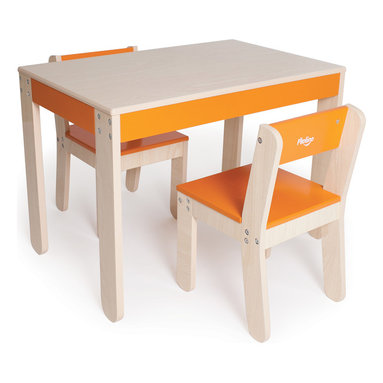 P'kolino - Little One's Table and Chairs, Orange - Perfectly tailored to a child's size and needs, this durable activity set comes complete with a table and two chairs. Kids will love the cheery accent color, and you'll love the easy-clean wood veneer finish. Recommended for ages 2 and up.