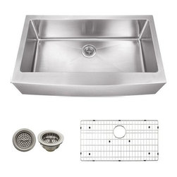 Schon - Schon 16 Gauge 35 7/8 x 20 3/4  Apron Sink - SCAPLG16 16 Gauge Schon Undermount Sink Stainless Steel Apron Front Single Bowl 35-7/8 x 20 1/4, Grid, Strainer